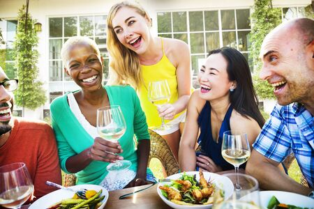 diversity people: Friends Friendship Outdoor Dining People Concept Stock Photo