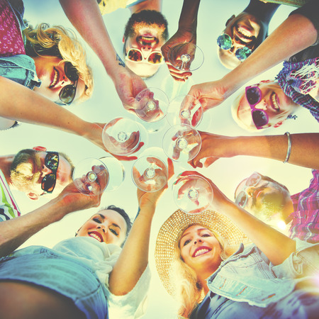 cheers: Beach Cheers Celebration Friendship Summer Fun Concept Stock Photo
