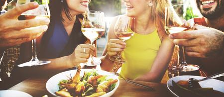 Vriend Vriendschap Dining Celebration Opknoping uit Concept Stockfoto
