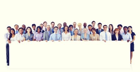 organised group: Large Group Business People Holding Board Blank Concept Stock Photo