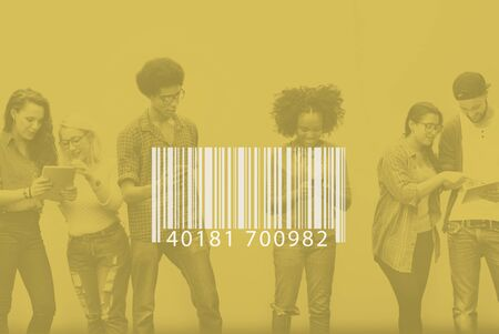 bar code reader: Barcode Identification Label Encryption Tag Concept Stock Photo