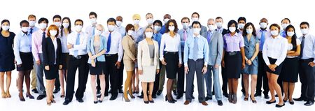 organised group: Large Group Business People Keeping Silence Stock Photo