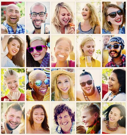 variation: Variation Diversity Collection People Smiling Concept Stock Photo