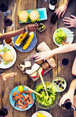 sumptuous: Food Table Celebration Delicious Party Meal Concept Stock Photo