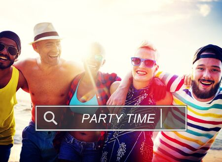 enjoyment: Party Time Beach Enjoyment Summer Holiday Concept Stock Photo