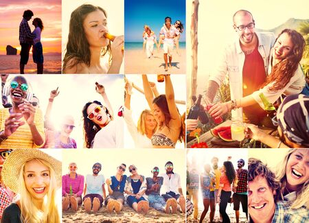 multiple ethnicity: Collage Diverse Faces Summer Beach People Concept