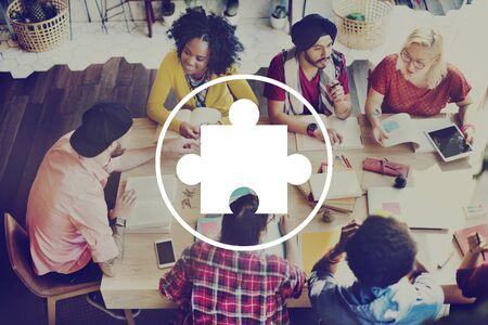 teamwork together: Jigsaw Puzzle Partnership Teamwork Team Concept