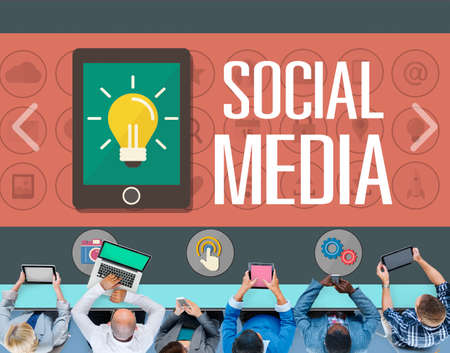 social networking: Social Media Social Networking Technology Connection Concept