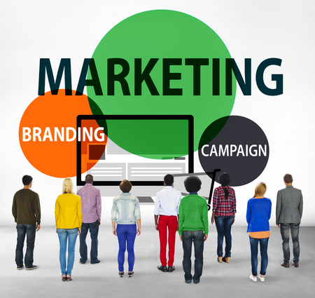 facing backwards: Marketing Branding Planning Advertisement Commercial Concept Stock Photo