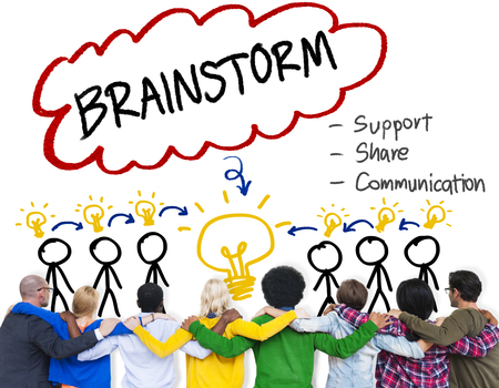 facing backwards: Brainstorming Thinking Support Share Communication Concept Stock Photo
