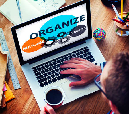 organize: Organize Manage Business Collaboration Community Concept