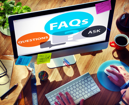faq's: FAQs Frequently Asked Questions Solution Concept Stock Photo
