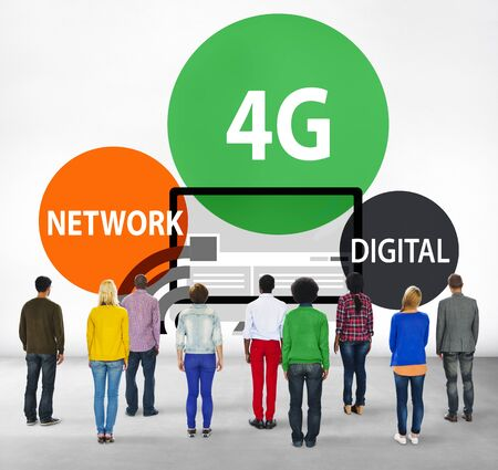 facing backwards: Technology Communication Connection Networking internet Concept Stock Photo