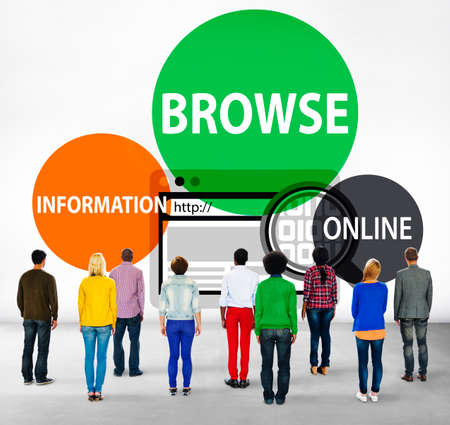 facing backwards: Browse Browser Searching Information Connection Web Concept Stock Photo