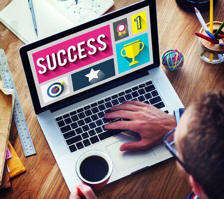 place of work: Success Successful Goal Achievement Complete Concept Stock Photo