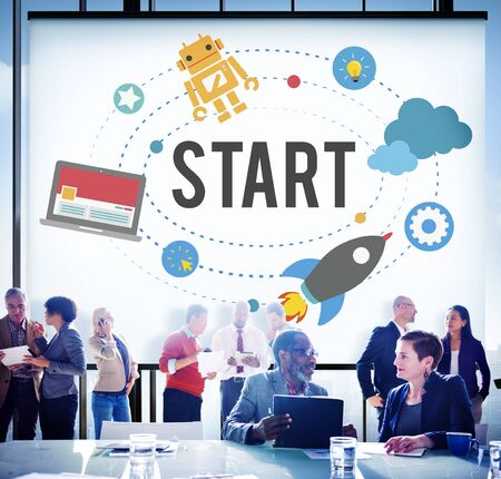 mision: Start Mission Success Strategy Beginning Concept Foto de archivo