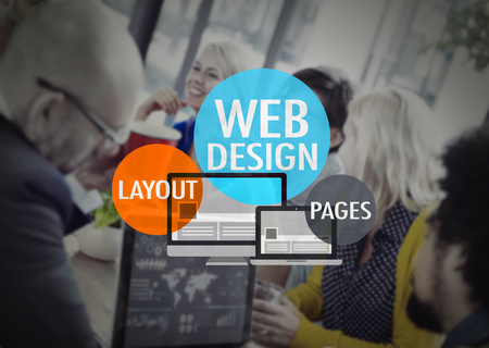 web conference: Web Design Layout Pages Development Website WWW Concept Stock Photo