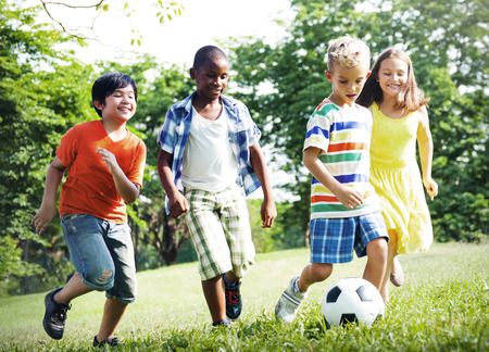 kids football: Child Childhood Children Happiness Togetherness Concept