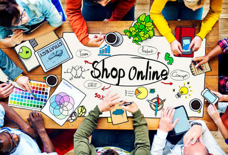office team: Shop Online Consumer Delivery Customer Concept