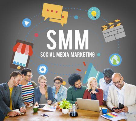 business media: Social Media Marketing Online Business Concept Stock Photo