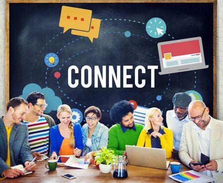 Conecte la conexión a redes de la comunicación Concepto Foto de archivo