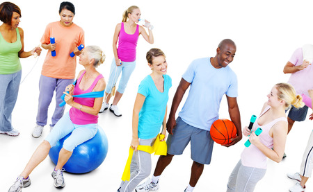 mixed age: Group of Healthy People in the Fitness Exercising Concept