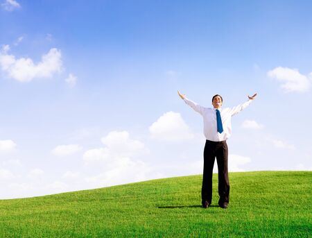 libertad: El hombre de negocios Relajación Solitario Libertad Concepto Éxito Foto de archivo