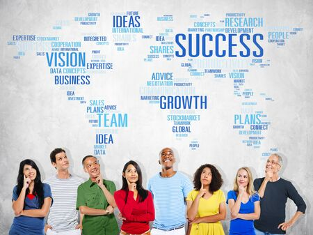 global thinking: Global Business People Togetherness Thinking Success Growth Concept