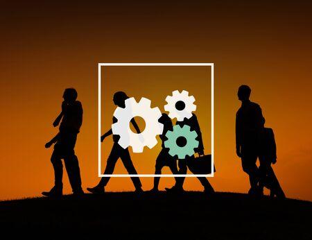 organisation: Teamwork Team Collaboration Connection Gear Organisation Stock Photo