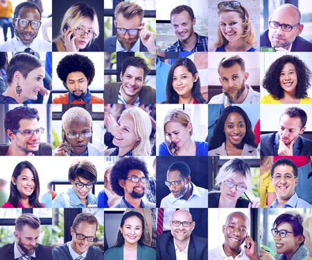 multiple ethnicities: Collage Diverse Faces Group People Concept Stock Photo