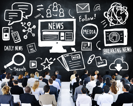 breaking: News Breaking News Daily News Follow Media Searching Concept Stock Photo