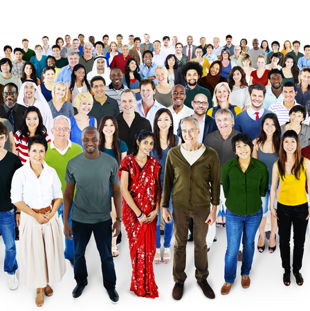 together standing: People Diversity Ethnicity Crowd Society Group Stock Photo