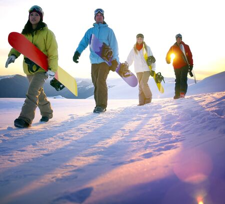 recreation: Snowboarding People Recreation Outdoors Hobby Concept