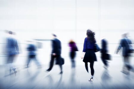 crowded space: Business People City Life Hustle Hurry Occupation Concept