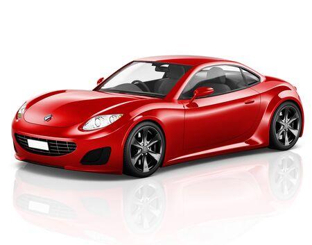 shiny car: Car Vehicle Transportation 3D Illustration Concept