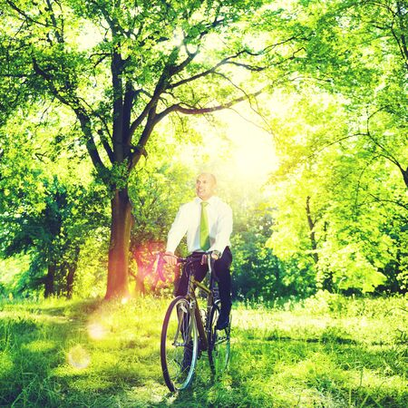 conservative: Conservative Businessman Bike Bicycle Eco Friendly Concept