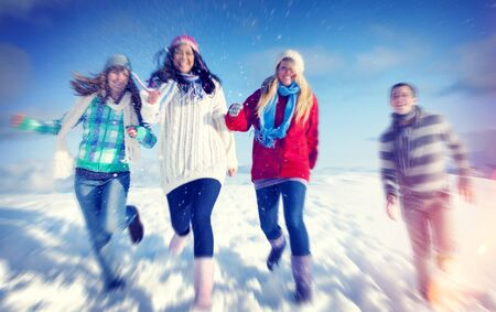winter vacation: Friends Enjoyment Winter Holiday Christmas Concept