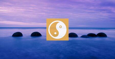 new zealand landscape: Yin Yang Balance Contrast Opposite Religion Culture Concept Stock Photo