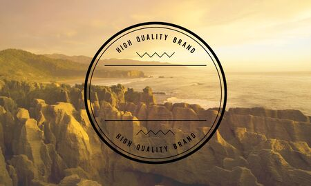 new zealand landscape: High Quality Brand Best Badge Stamp Concept Stock Photo