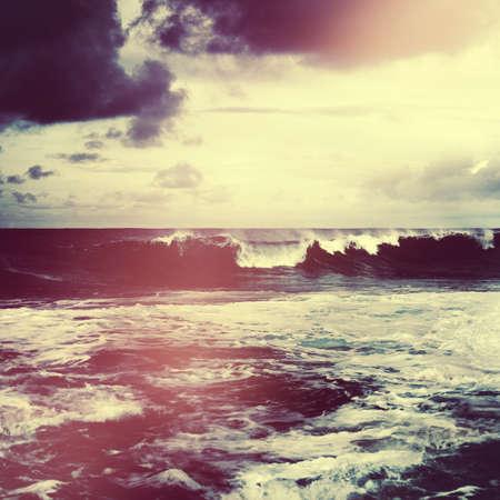 natural disaster: Storming Waves Seascape Natural Disaster Concept
