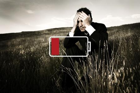 Depressed Businessman Powerless Weakness Concept Stock Photo