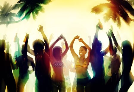 man beach: People Celebration Beach Party Summer Holiday Vacation Concept