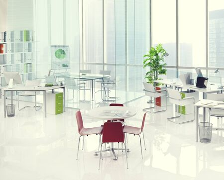 working area: Office Green Business Working Area Meeting Table Concept