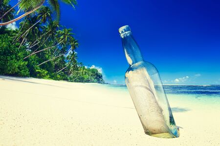 cocnept: Message in a Bottle on Beach Summer Paradise Cocnept
