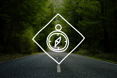 guidance: Compass Icon Navigation Guidance Travel Journal Concept