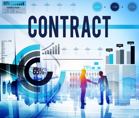 financial agreement: Contract Agreement Deal Bargain Partnership Concept Stock Photo