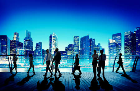 rush hour: Business People Commuter Walking Rush Hour Concept