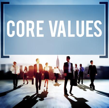 proposito: Valores Fundamentales Core Focus Objetivos Ideología Uso principal Concepto Foto de archivo