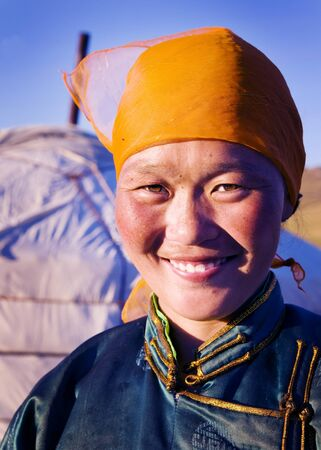 southeast asian ethnicity: Mongolian Woman Traditional Dress Tranquil Solitude Concept