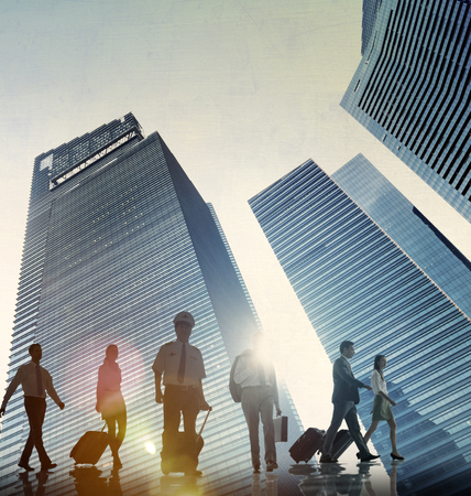 business travel: Business People Walking Corporate Travel Airplane Concept